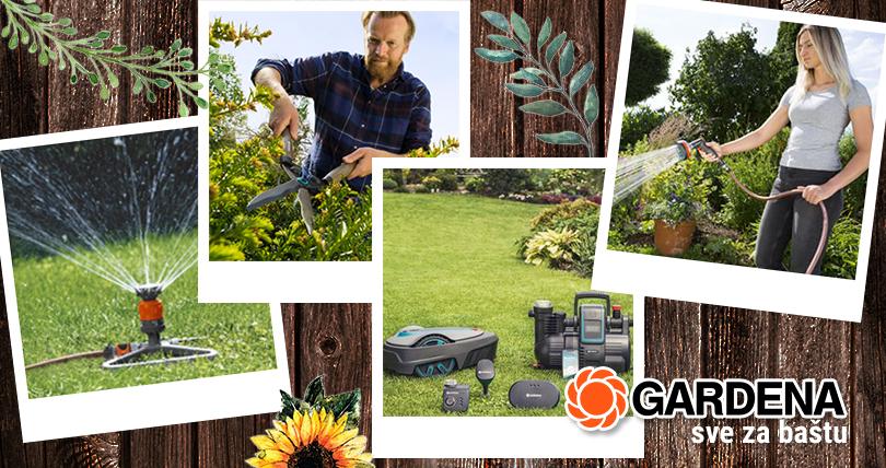 Gardena, oprema za baštu, makaze, prskalice, creva za polivanje